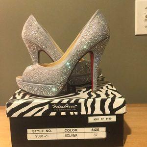 Shoes - Embellished Open-toe heels